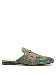 Gucci Princetown Jacquard Backless Loafers Green Multi