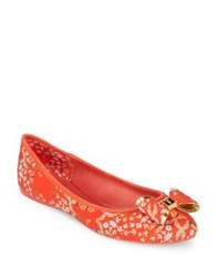 9385e069c33301 Ted Baker Immep Floral Textile Ballet Flats Red Kyoto