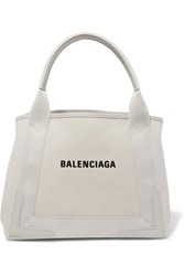 Balenciaga Cabas Small Leather Trimmed Canvas Tote Beige