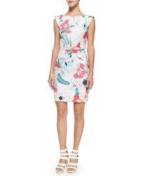 French Connection Floral Reef Cotton Sheath Dress Summer White Multicolor Summer White Mult