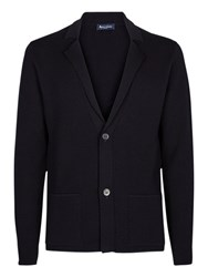 Aquascutum London Walter Merino Wool Cardigan Navy
