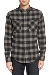 Z.A.K. Brand Men's Plaid Flannel Shirt Dark Grey Plaid