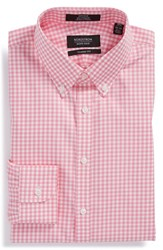 Nordstrom Men's Big And Tall Men's Shop Classic Fit Non Iron Gingham Dress Shirt Pink Aurora