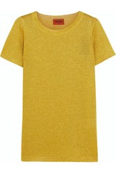 Missoni Metallic Crochet Knit Top Yellow