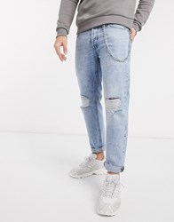 Jack And Jones Intelligence Comfort Fit Chain Detail Ripped Jeans In Acid Wash Blue