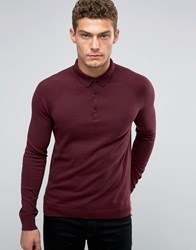 United Colors Of Benetton Cashmere Blend Long Sleeve Knitted Polo Burgundy 28Z Red