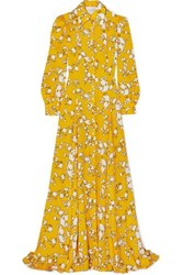 Carolina Herrera Floral Print Satin Twill Gown Yellow