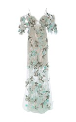 Marchesa Floral Embroidered Beaded Gown White Pink Blue