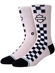 Stance Harley Side Check Socks Pink
