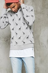 Forever 21 Giraffe Graphic Sweatshirt Heather Grey Black