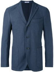 Boglioli Three Button Blazer Men Cotton Polyamide Spandex Elastane Cupro 54 Blue