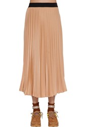 Moncler Pleated Crepe De Chine Skirt Pink Blush