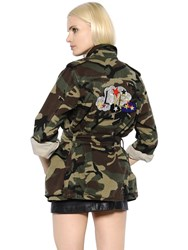 Saint Laurent Camouflage Denim Parka W Love Patch