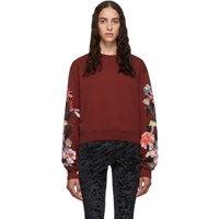Off White Red Cropped Flowers Sweatshirt