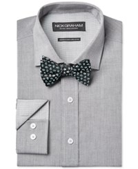 Nick Graham Fitted Solid Charcoal Chambray Dress Shirt And Blue Floral Pre Tied Bow Tie