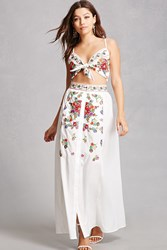 Forever 21 Cropped Cami And Maxi Skirt Set White