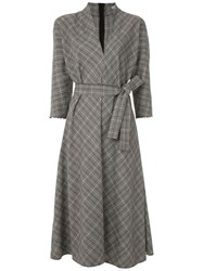 Martha Medeiros Luzia Midi Checked Dress Grey