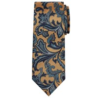 Chester Barrie By Paisley Woven Silk Tie Gold Navy Gold Navy