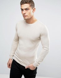 Asos Cotton Crew Neck Jumper In Muscle Fit Mushroom Pink Beige
