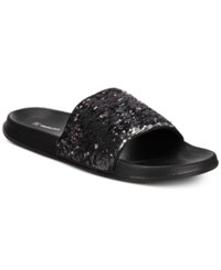 Inc International Concepts I.N.C. Gemini Sequin Shower Slides Created For Macy's Shoes Silver