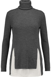 Joseph Merino Wool And Washed Silk Turtleneck Sweater Charcoal