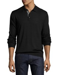 Neiman Marcus Long Sleeve Wool Blend Polo Sweater Black