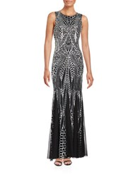 Calvin Klein Sequined Mermaid Gown Silver