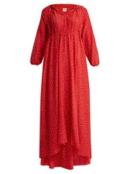 Vetements Polka Dot And Emjoi Print Hooded Silk Dress Red Print