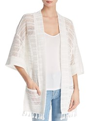 Molly Bracken Openwork Bell Sleeve Cardigan Off White