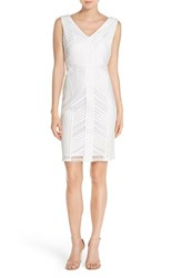Js Collections Women's Satin And Mesh Sheath Dress White