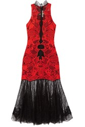 Jonathan Simkhai Two Tone Guipure Lace Dress Red