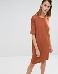 Selected Elva T Shirt Dress Rustic Brown