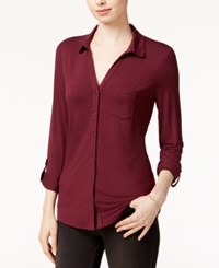 Maison Jules Roll Tab Sleeve Shirt Only At Macy's Vintage Wine