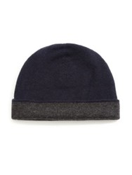 Saks Fifth Avenue Reversible Cashmere Beanie Neon Grey Navy Charcoal Blue Black Black Charcoal