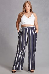 Forever 21 Plus Size Striped Palazzo Pants Navy White
