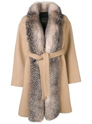 Blancha Belted Fur Coat Nude And Neutrals