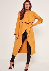 Missguided Oversized Waterfall Duster Coat Mustard