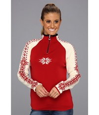Dale Of Norway Geilo Feminine B Raspberry Off White Navy Women's Long Sleeve Pullover Red