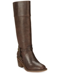 Xoxo Marisa Tall Western Harness Boots Women's Shoes Chocolate