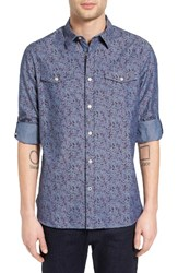 John Varvatos Men's Collection Roll Sleeve Floral Chambray Shirt