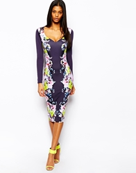 Asos Floral Mirror Print Pencil Dress