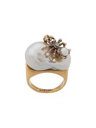 Alexander Mcqueen Skull And Spider Embellished Ring Gold
