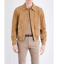 Ralph Lauren Purple Label Flap Pocket Suede Jacket Tan