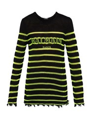Balmain Distressed Logo Embroidered Striped Sweater Black Yellow