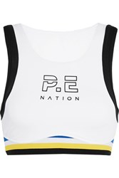 P.E Nation Big Papy Open Back Striped Stretch Jersey Sports Bra White