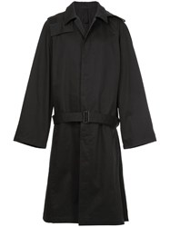Christophe Lemaire Belted Single Breasted Fitted Coat Blue