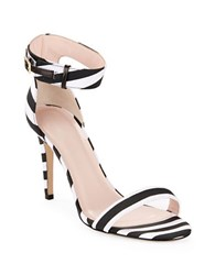 Kate Spade Isa Striped Heeled Sandals Black White