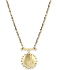 Lucky Brand Two Tone Medallion Pendant Necklace 21 2 Extender Gold