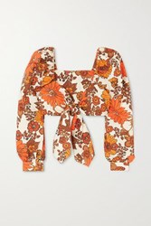 Dodo Bar Or Biby Cropped Tie Front Floral Print Cotton Top Orange