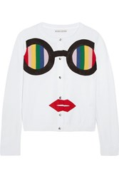 Alice Olivia Ruthy Rainbow Staceface Appliqued Cotton Blend Cardigan White